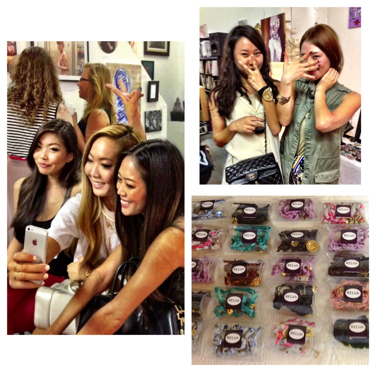 """I had so much fun selling RELish By Arielle accessories like these one-of-a-kind """"RELish Your Charms"""" bracelets sold in pillow boxes.  Above, some gallery-goers showcase their new RELish rings."""