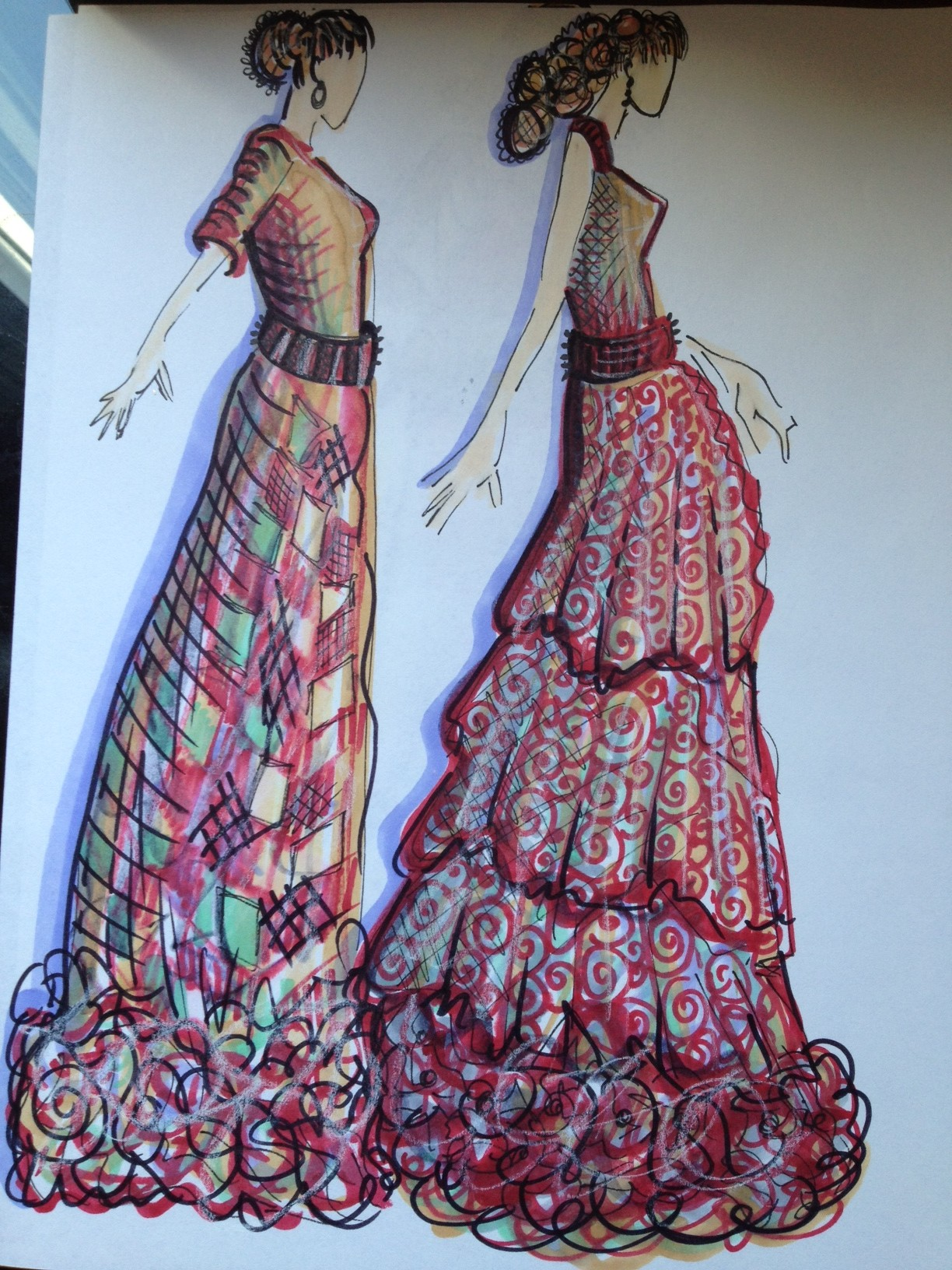 These ladies in red are wearing gowns that I really want to construct someday soon because I would love to wear them myself. The look is really boho-chic and I see the fabrics as light and ethereal. To create the look, I used prisma colored markers.
